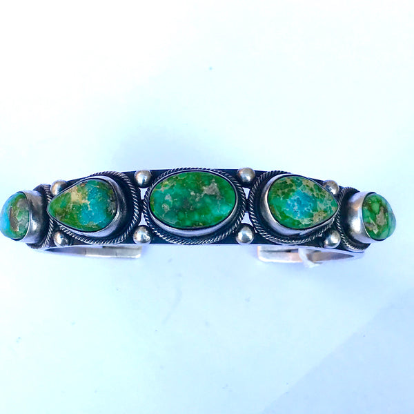 Bracelet made from rare emerald green turquoise