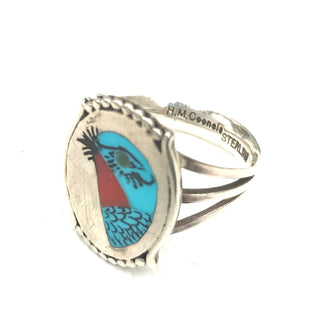 Sterling silver intricate inlaid bird Zuni ring