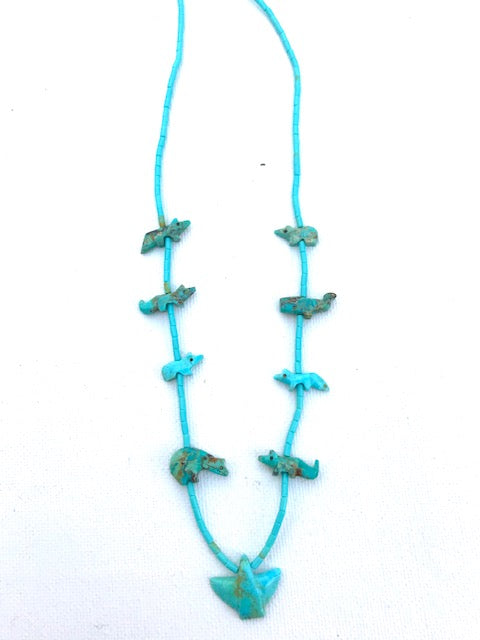 Turquoise short power animal necklace