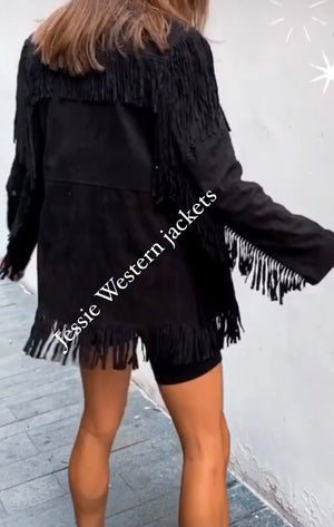 Soft suede fringed jacket