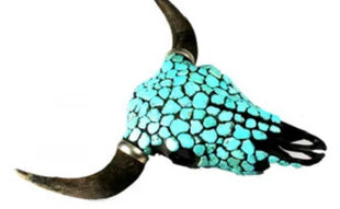 Buffollo skull inlaid with real turquoise