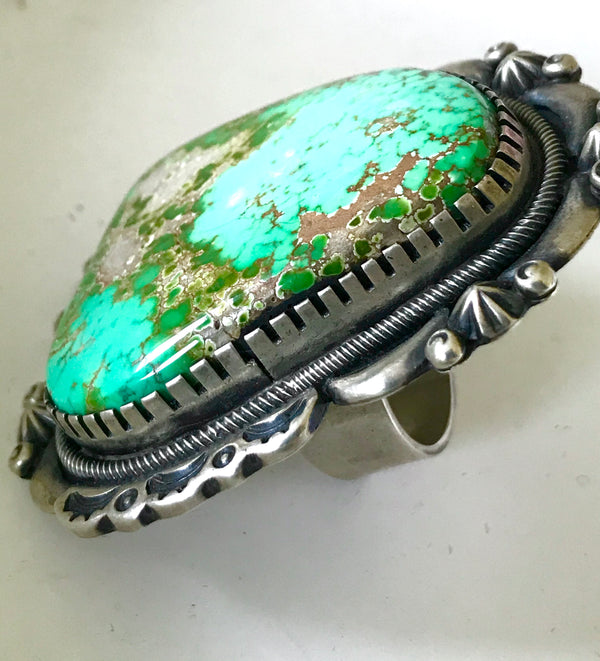 Amazing rare emerald turquoise ring ,