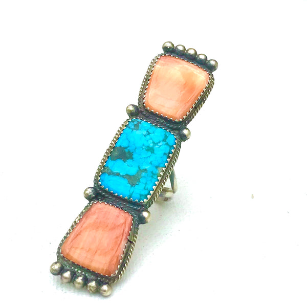Spiny and turquoise sterling silver long ring