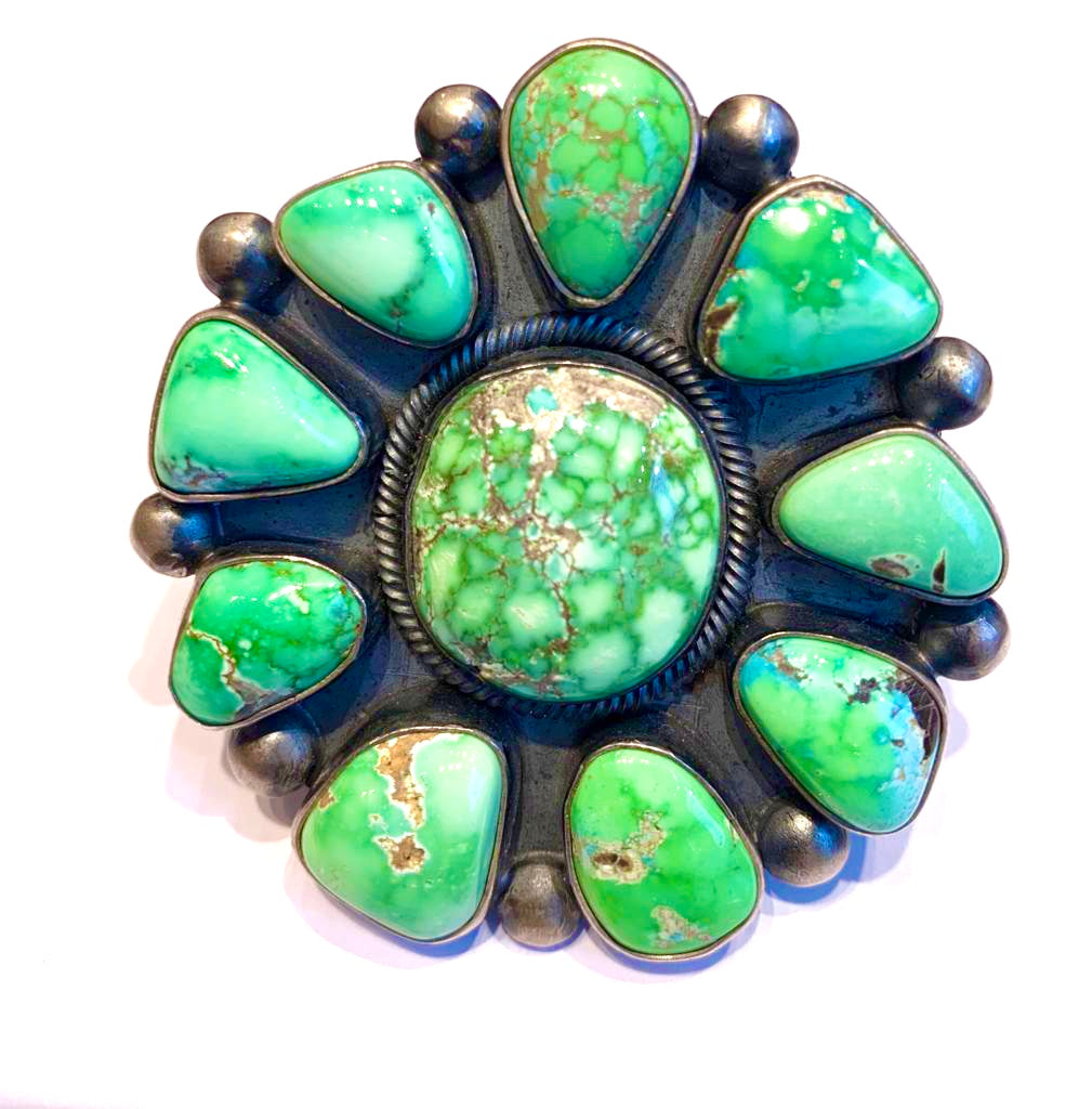 Amazing rare green emerald turquoise ring