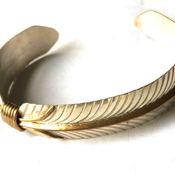 Feather sterling silver / 18k gold bracelet