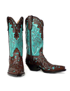 Sea Foam Turquoise and Brown Hand Tooled Boots