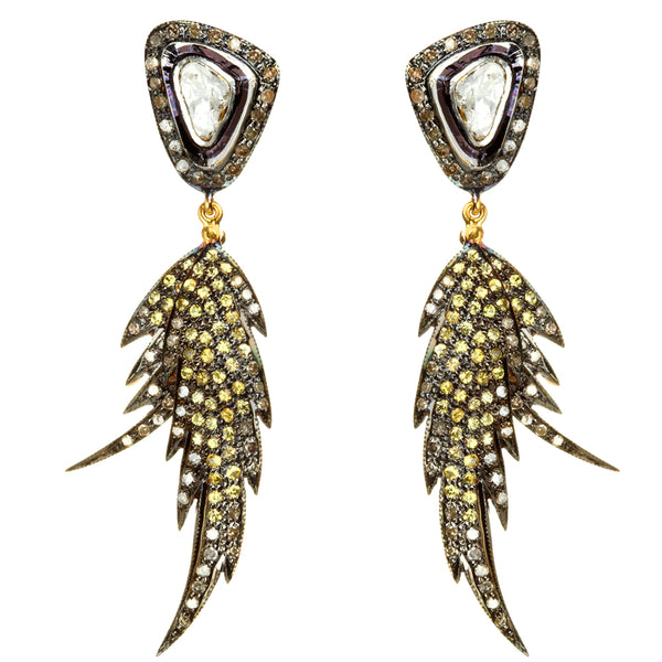 Yellow Sapphire & Diamond Double Feather Earrings
