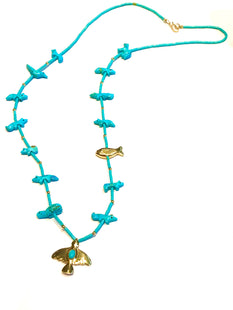 Gold & turquoise power animal necklace