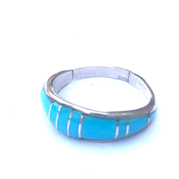 Inlaid sterling silver /turquoise ring
