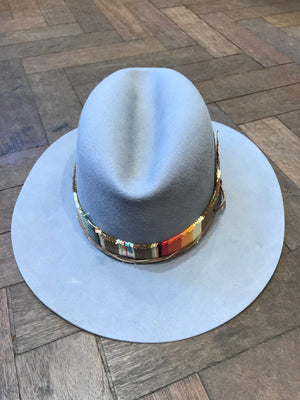 Grey custom made hat