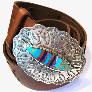 Multistone buckle with silver punchwork