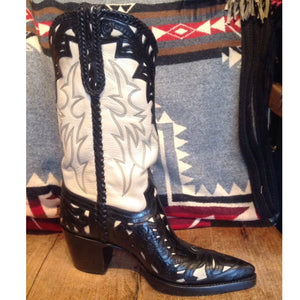 Black and Cream Handtooled Boots