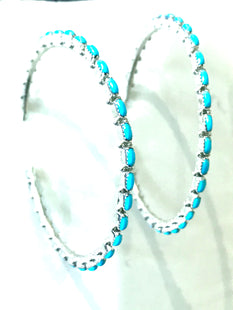 Amazing turquoise large hoops NEW SIZE