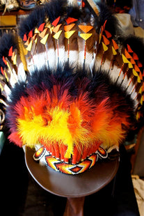 Head dress, orange and red, felt cut work