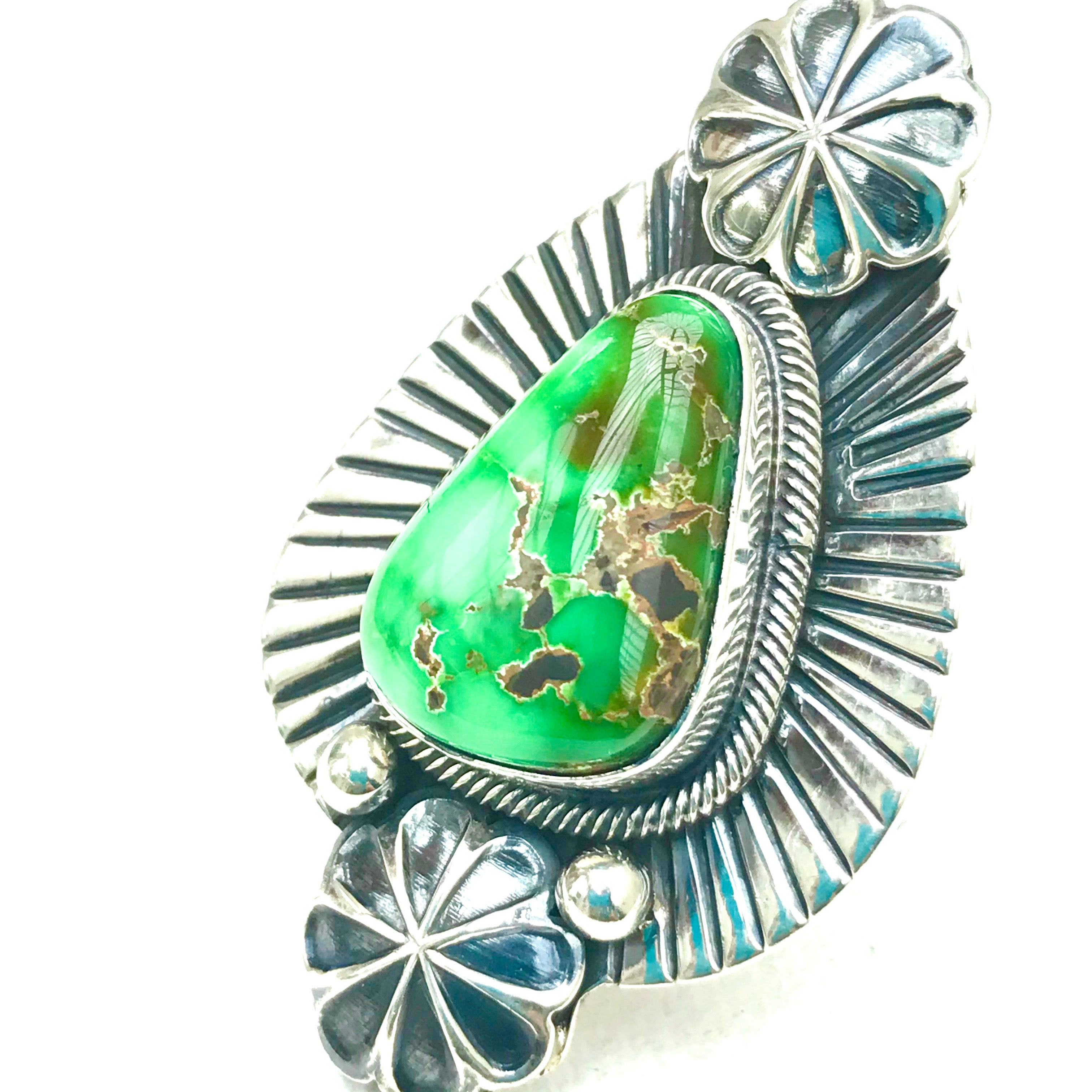 Sterling silver rare emerald green turquoise ring