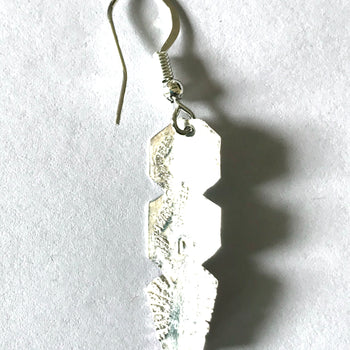 Silver feather with stones