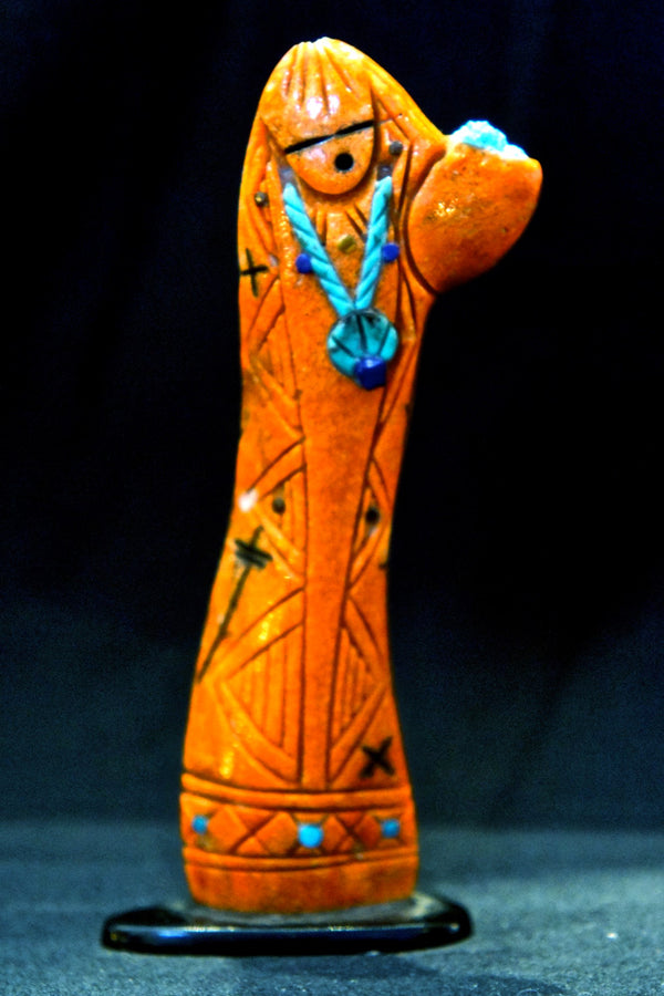 Zuni Coral Fetish Corn Maiden