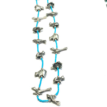 Vintage amazing silver &  turquoise power animal necklace