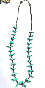 Stunning super long turquoise bear/ bird  power animal necklace