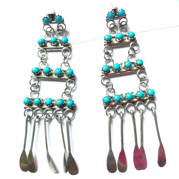 Delicate petit point turquoise earrings