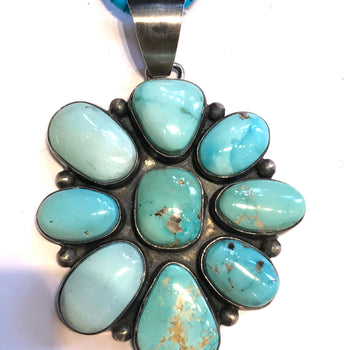 Stunning Large pale green turquoise Navajo pendent / necklace