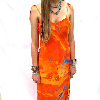 NEW  silk strap dress  orang/ blue  wolf
