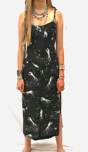 New Black silk wolf dress Jessie Western