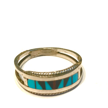 Sterling silver turquoise ring and inlaid jet and coral