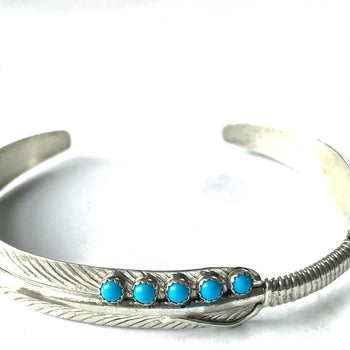 Feather sterling silver bracelet