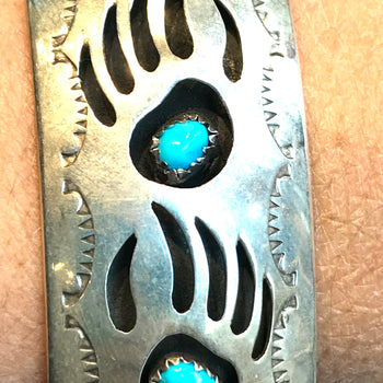 Shadow box sterling silver bracelet  BEAR CLAW