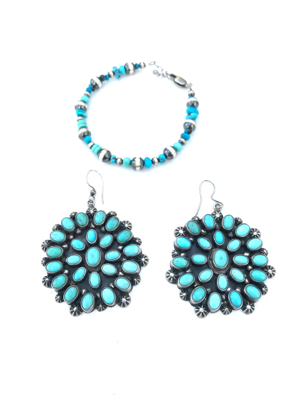 Amazing Navajo turquoise large earrings