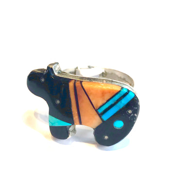 Bear inlaid ring