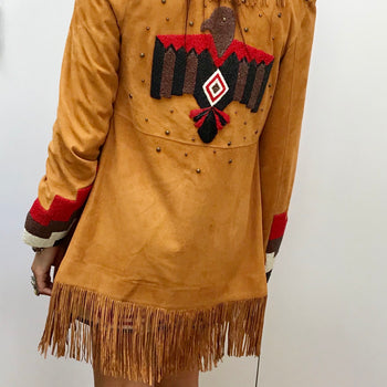 Hand beaded suede eagle fringed  jacket