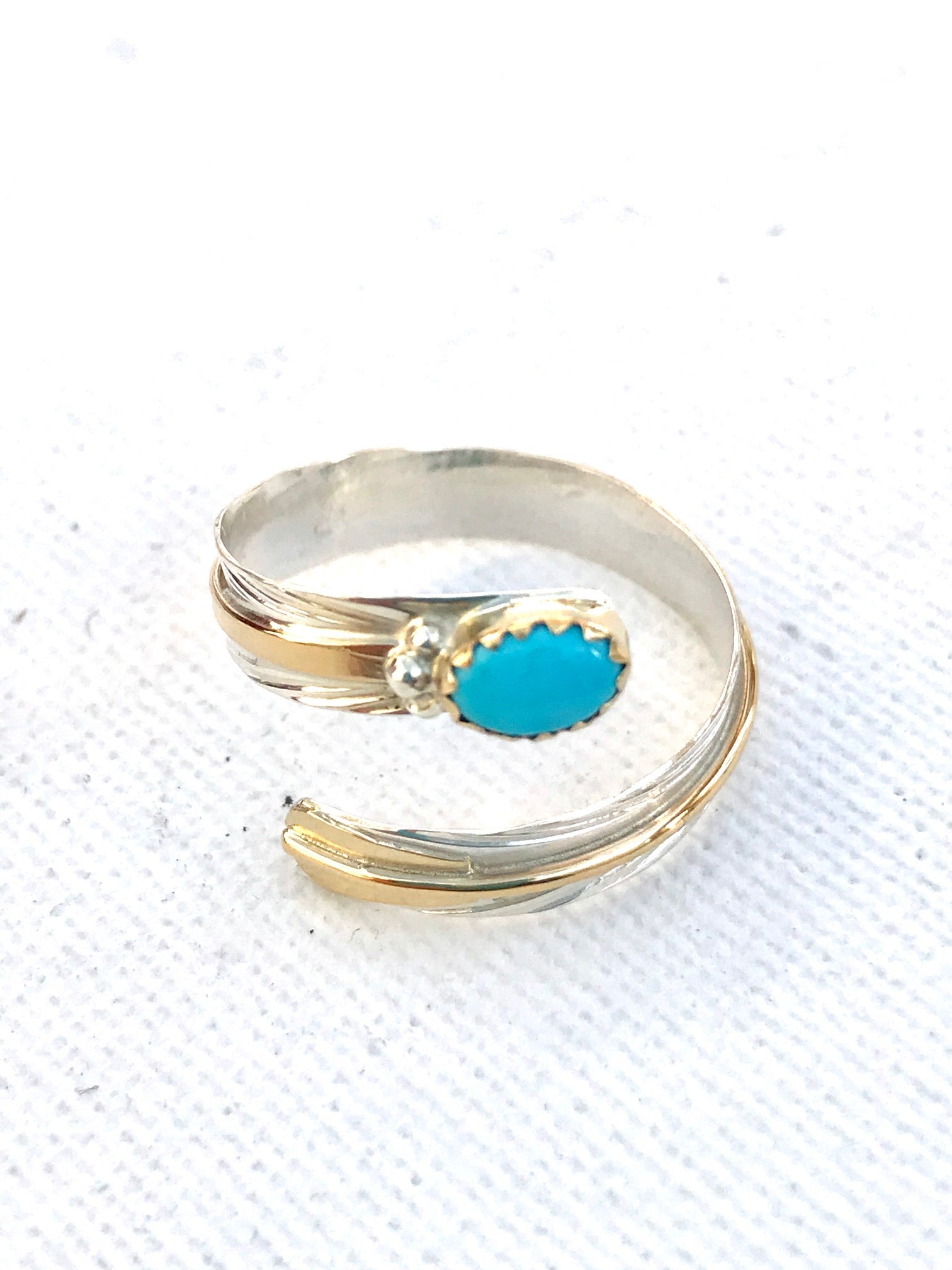 Sterling silver 14 k gold ring