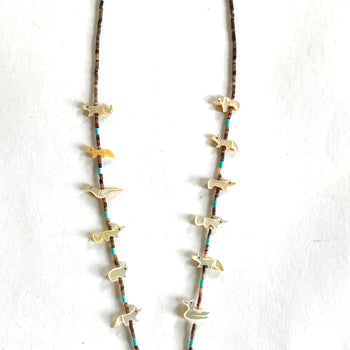 New Mother of pearl/ turquoise long power animal necklace
