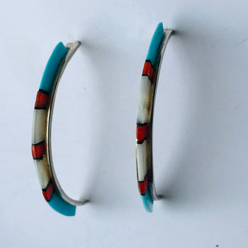 Medium inlaid turquoise , shell hoop earring