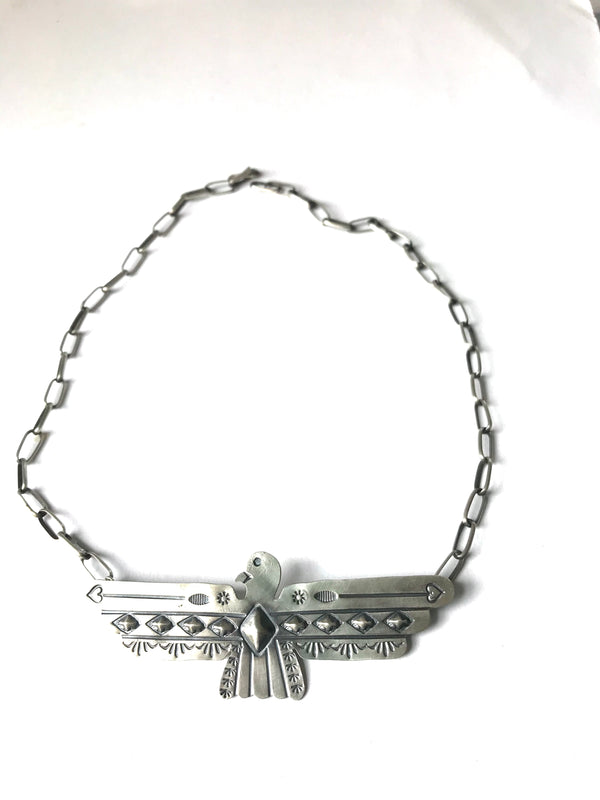Large sterling silver eagle  thunderbird necklace