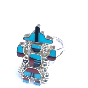 Sterling silver ring Zuni katchina dancing ring