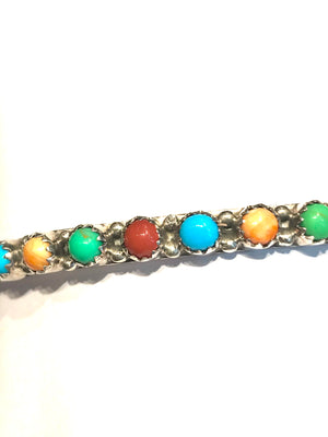 Multi stone Navajo bangle