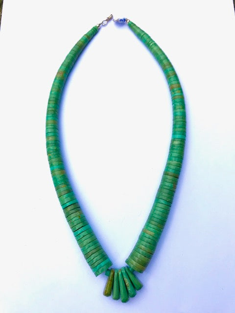 Green turquoise Navajo hand drilled necklace