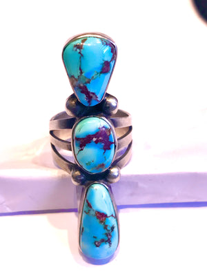Amazing 3 stone Navajo ring