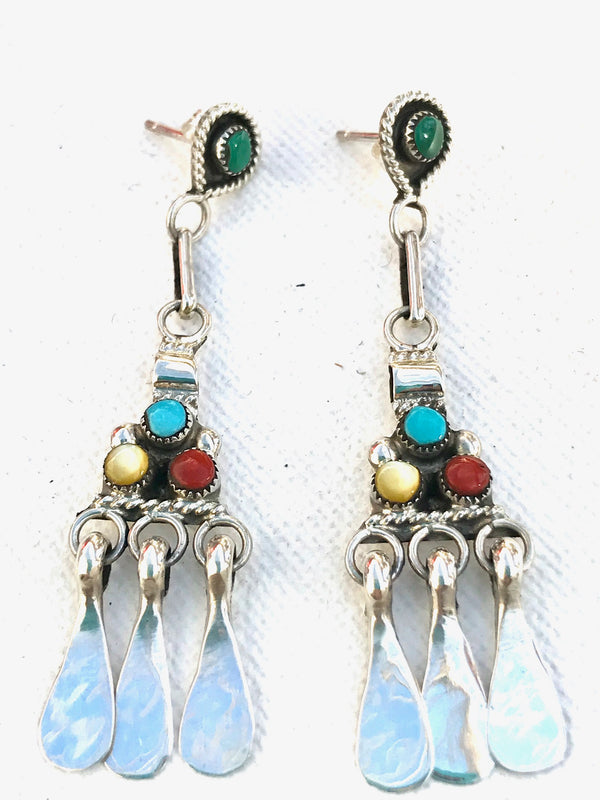 Sterling silver turquoise and coral Zuni earring Native American Indian