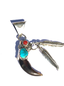 Claw pendent sterling silver w/feathers