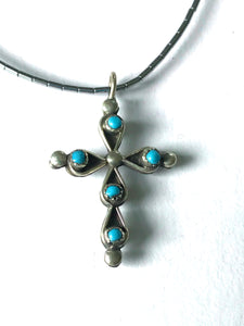 Double sided cross pendent - coral / turquoise