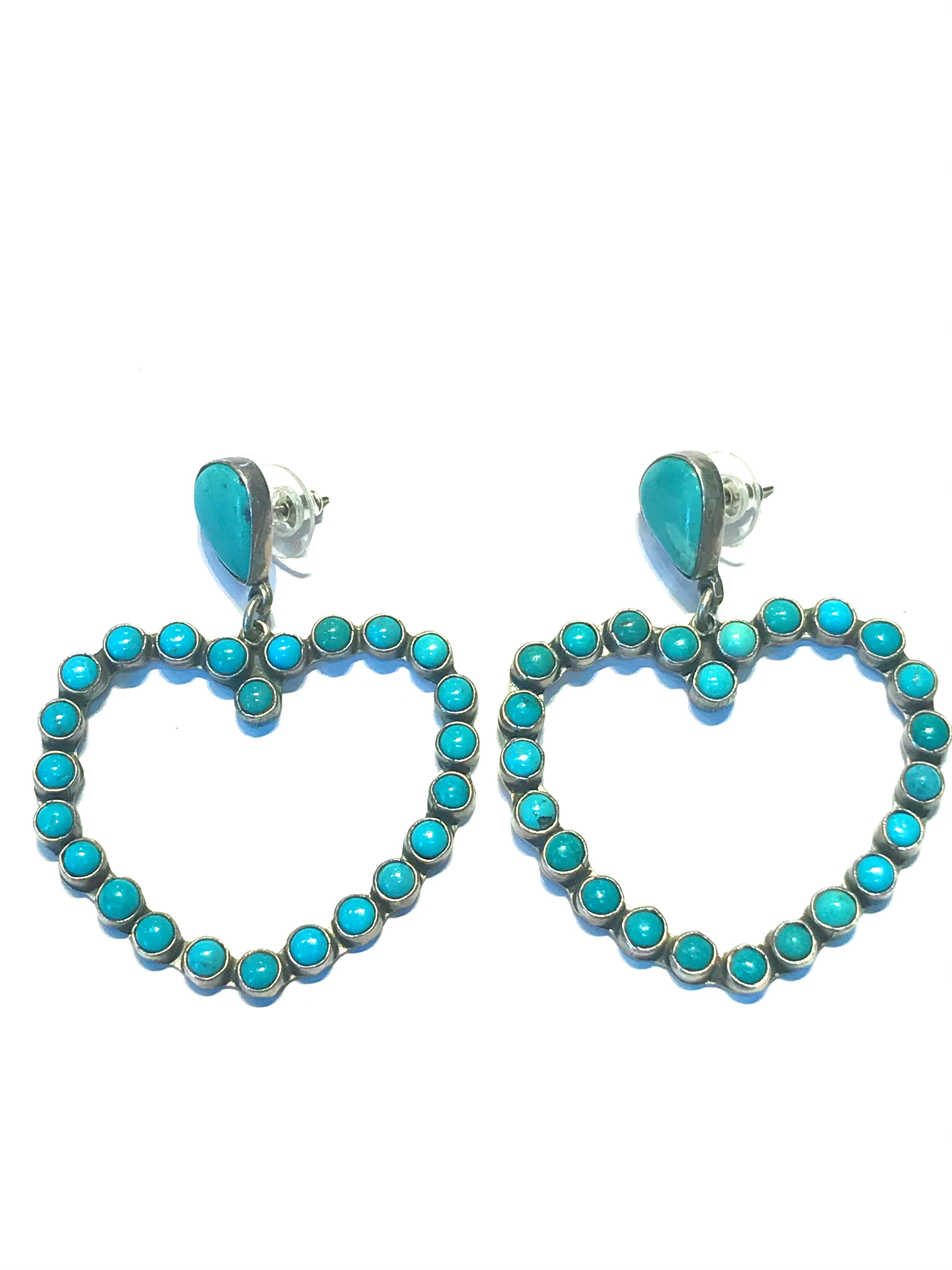 Amazing turquoise earrings heart