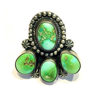 Rare emerald green turquoise ring