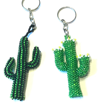Hand beaded key ring cactus