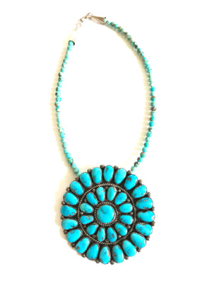 Turquoise gem quality pin /pendent