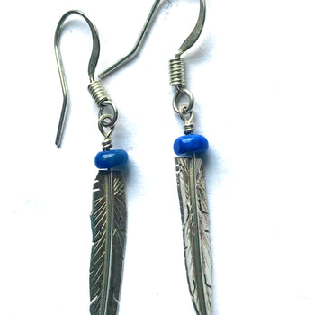 Lapis feather earring
