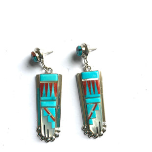 Amazing Zuni inlaid turquoise mother of Pearl earrings